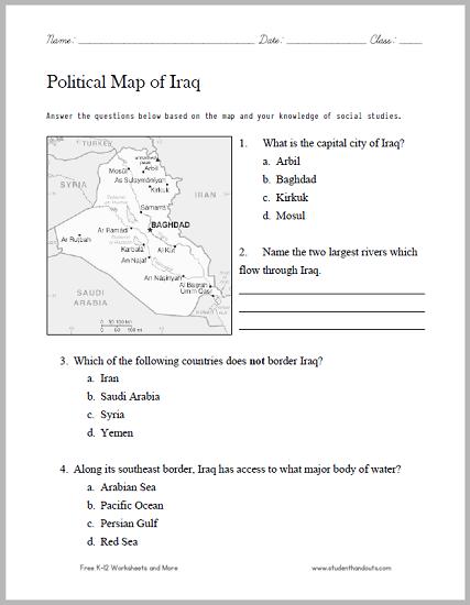 Political Map Worksheet.Iraq Political Map Worksheet Free To Print Pdf File Social