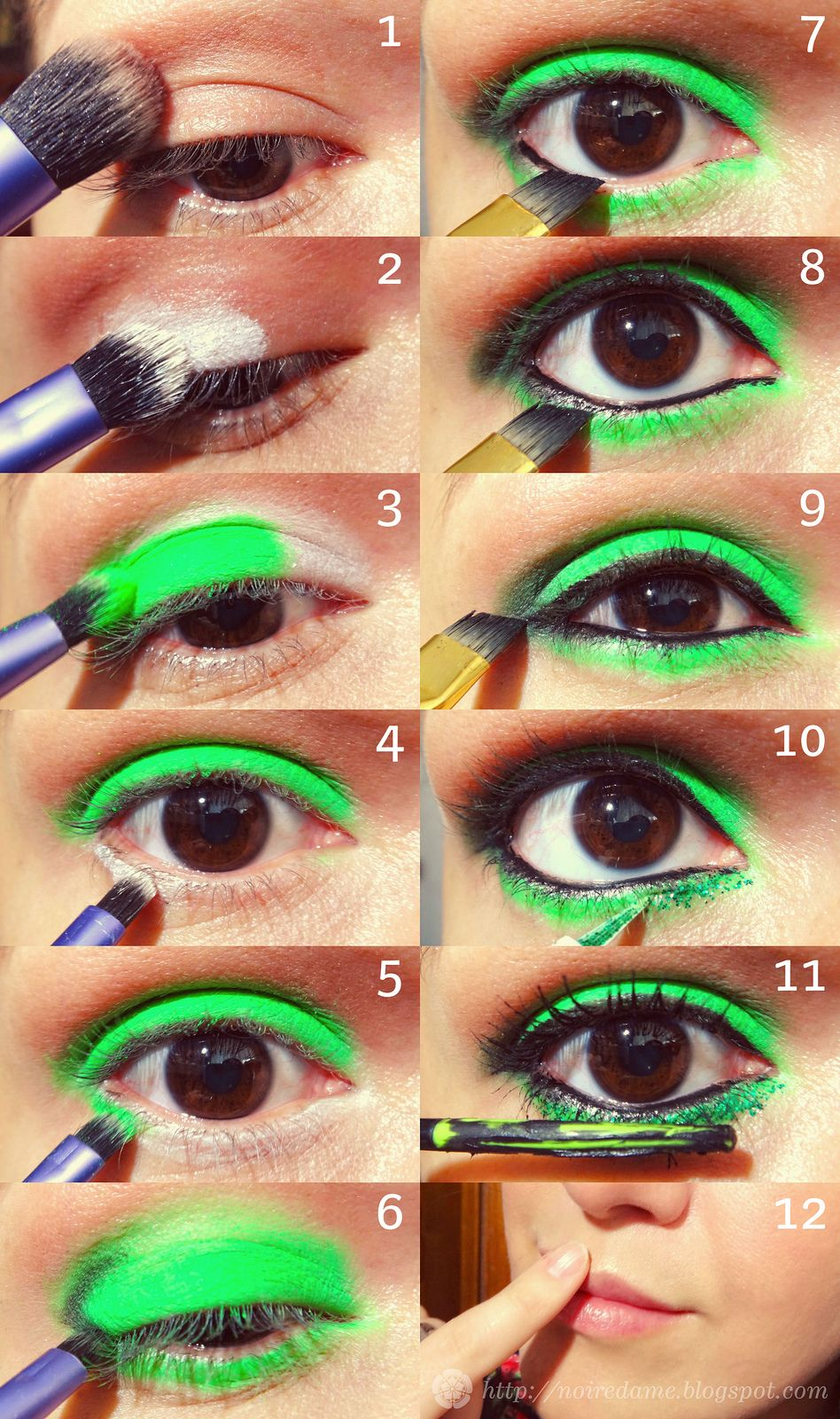 this is not my tutorial, but I wish I could do this since I have brown eyes. LOVE the bright green eye shadow, it would be great for St. Patrick's Day :)