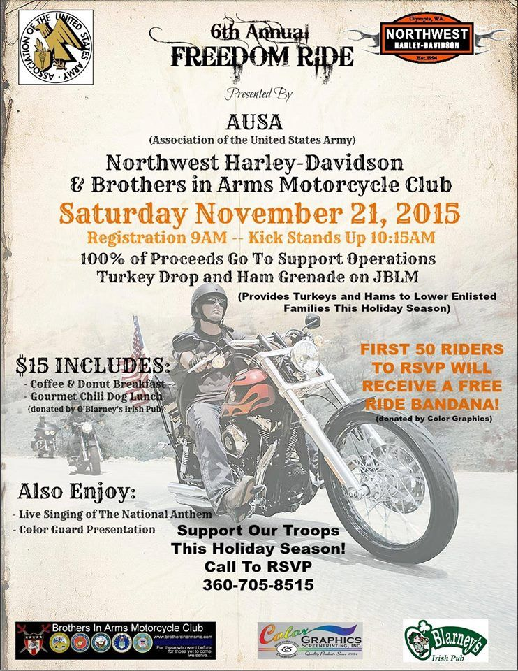 Lacey Wa Nov 21 2015 6th Annual Freedom Motorcycle Ride 100 Of Proceeds Go To Support Operations Turkey Dro Motorcycle Events Charity Run Freedom Rides