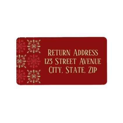 Red Snowflake pattern return address label Return address - sample address label