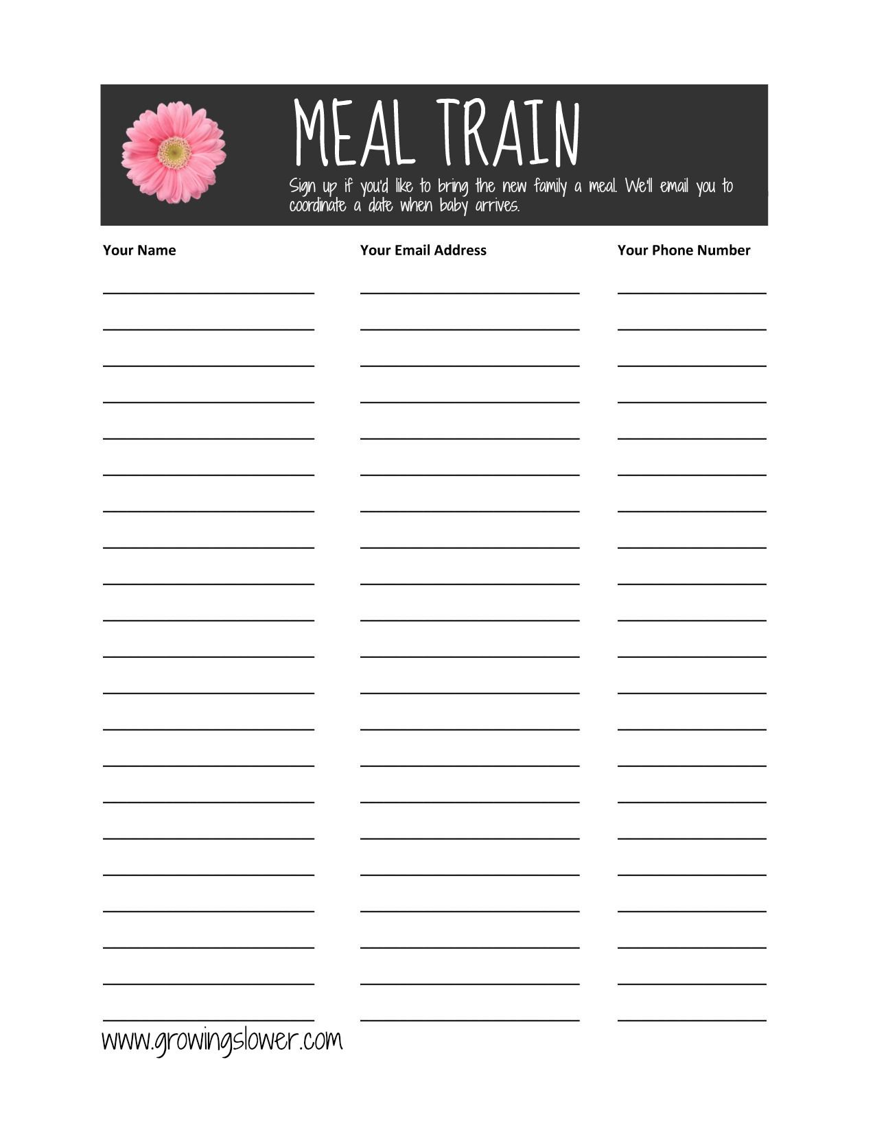 Meal Train Recipes Make Invoice Signup