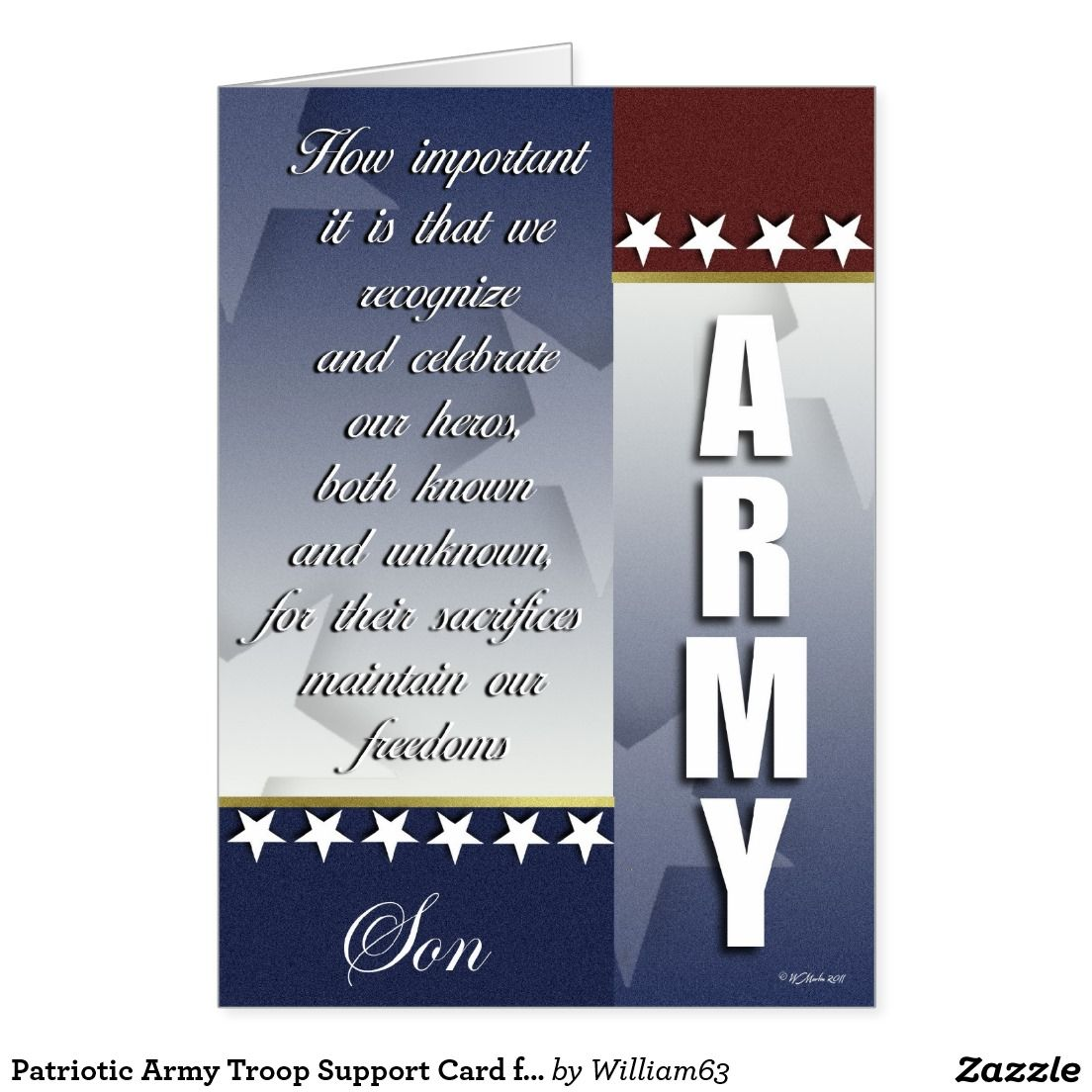 Patriotic Army Troop Support Card For Son Patriotic Greeting Cards