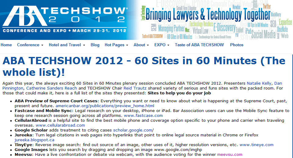 Great List Of Web Resources From The Aba Techshow 2012 60 Sites In 60 Minutes My Favorite Poopsenders Com Why Is Conference Hotel Travel Blog Technology