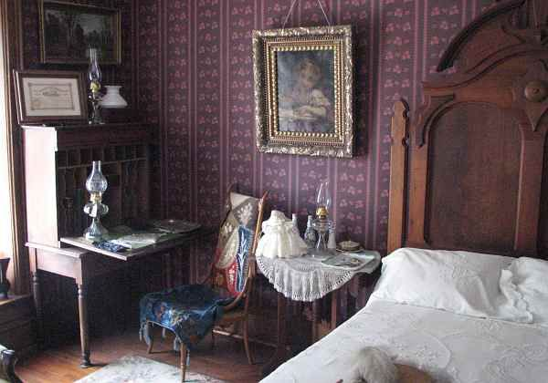 Haunted Bedroom Of The Old Victorian Mansion In Ward Meade Park Topeka Kansas USA There Are Numerous Reportings Spirit Activity Including Doors