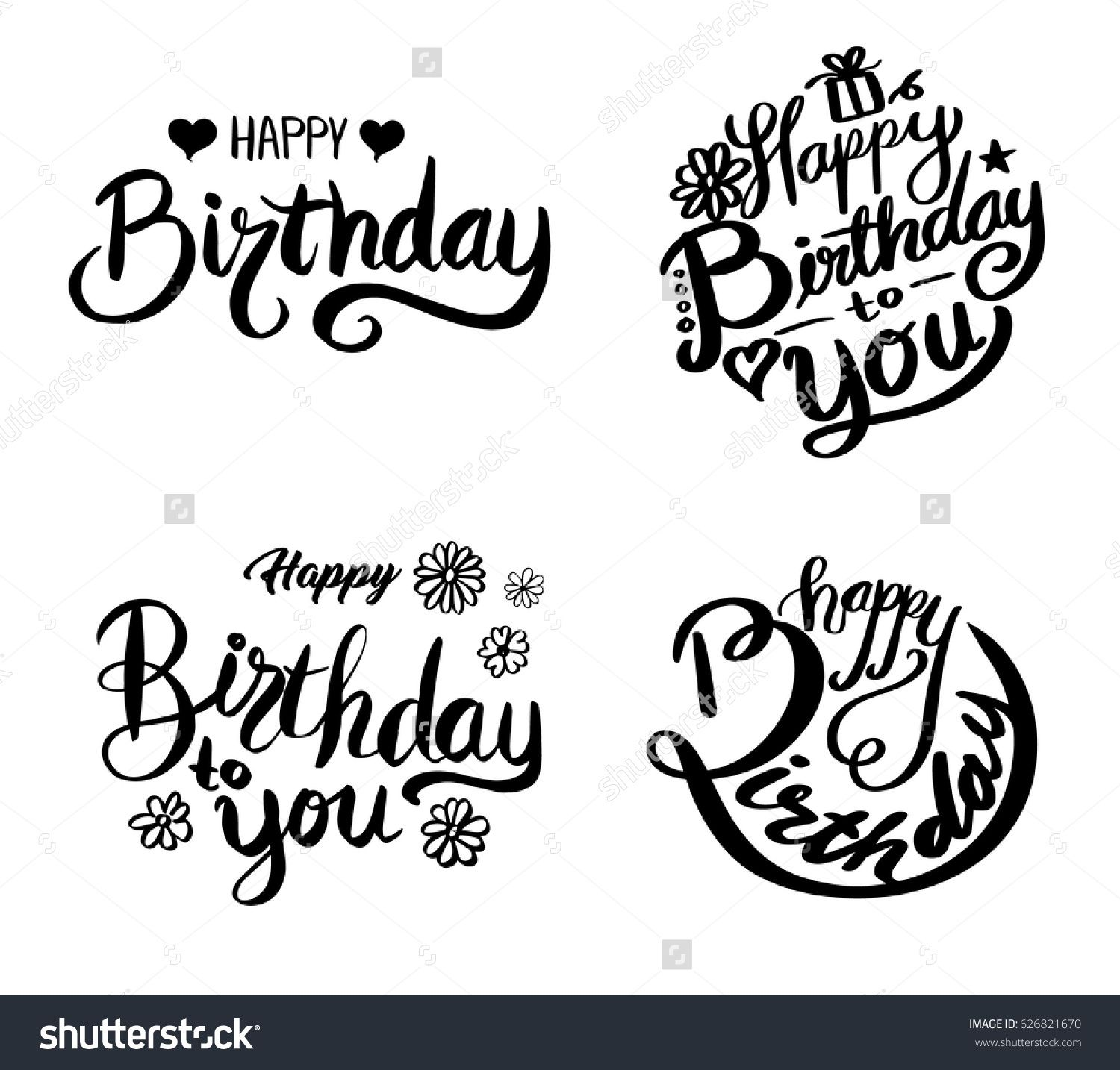 Happy Birthday Set Beautiful Greeting Card Poster With