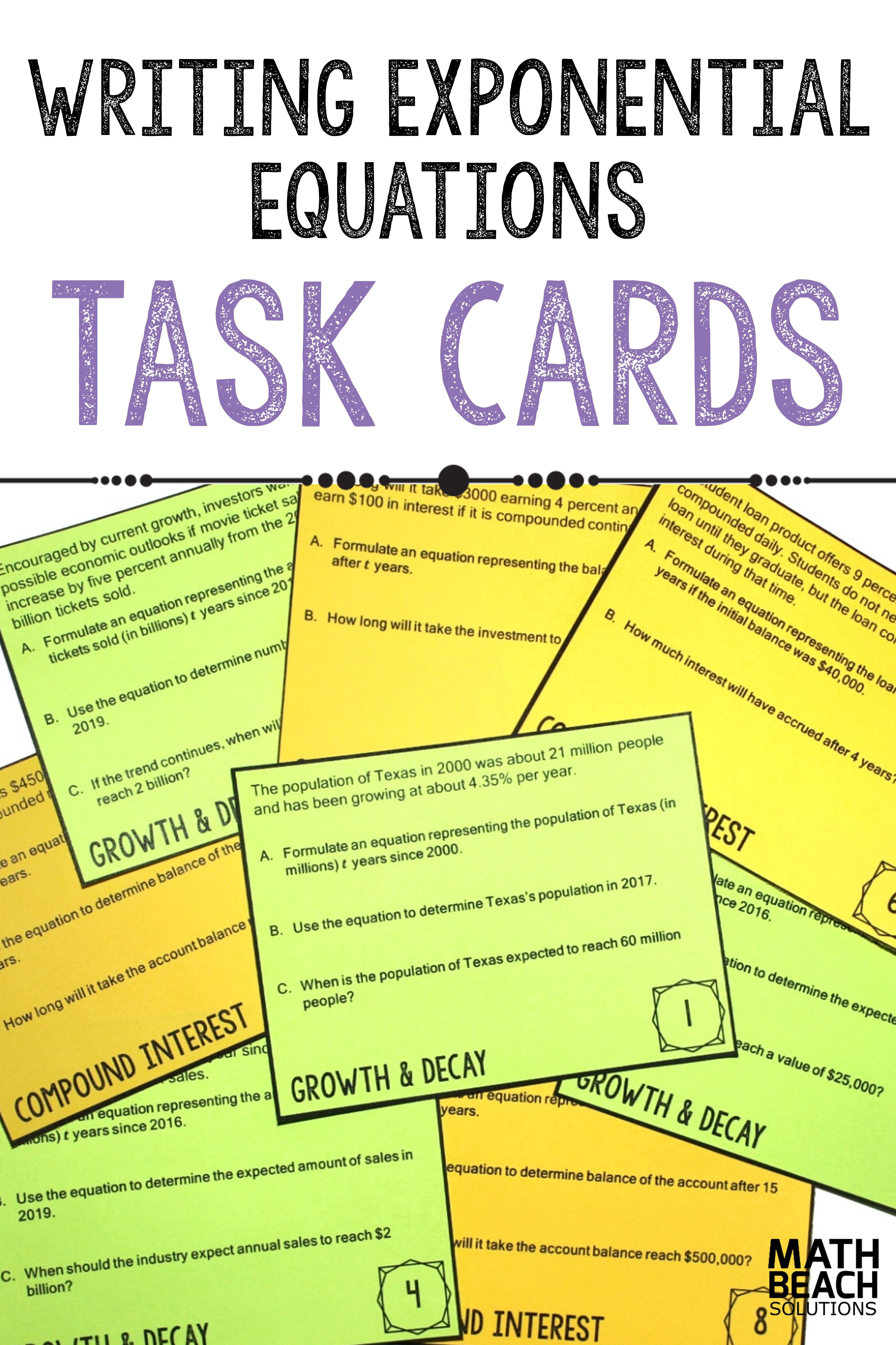 Formulating Exponential Equations Task Cards Activity