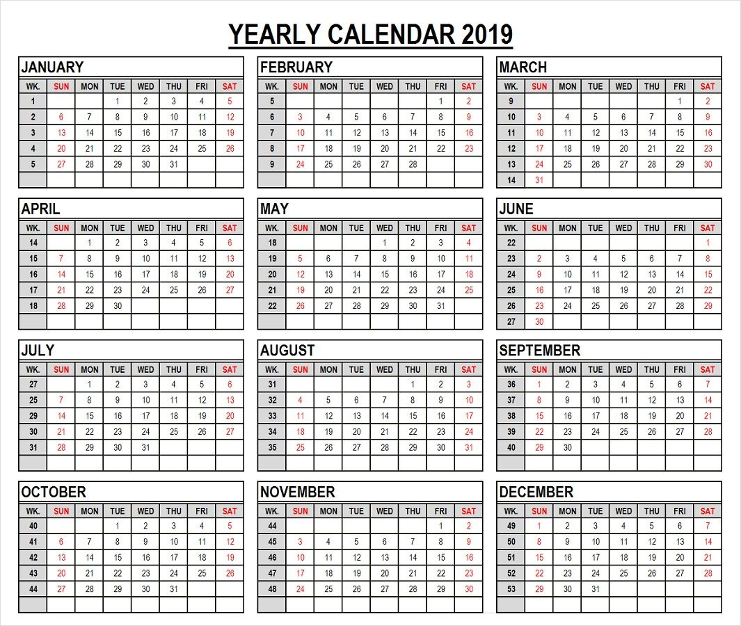 2019 Year Calendar In Weeks Template 2019 Calendar Calendar