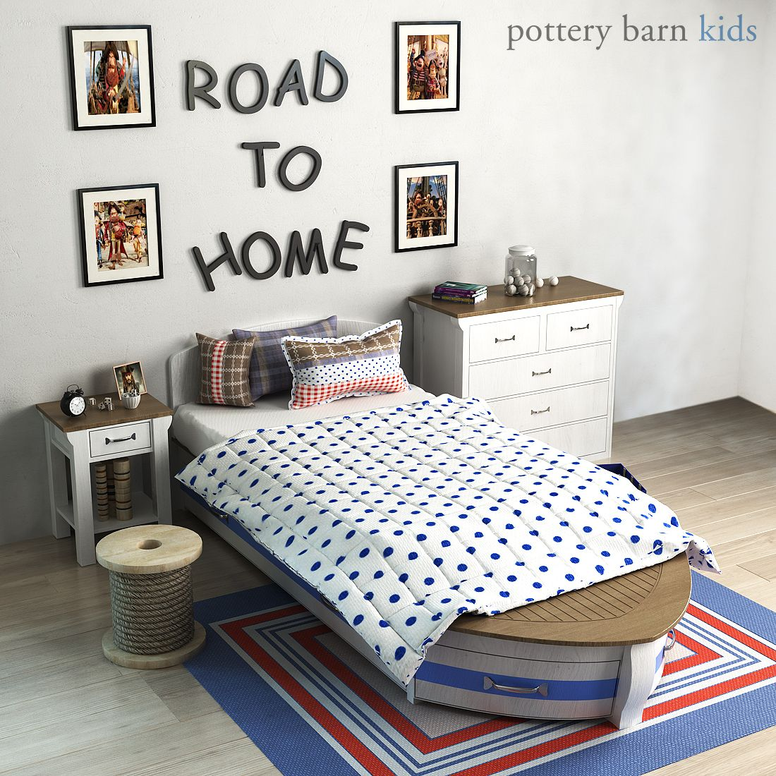 Pottery barn, Speedboat Bed Trundle barn, Pottery,