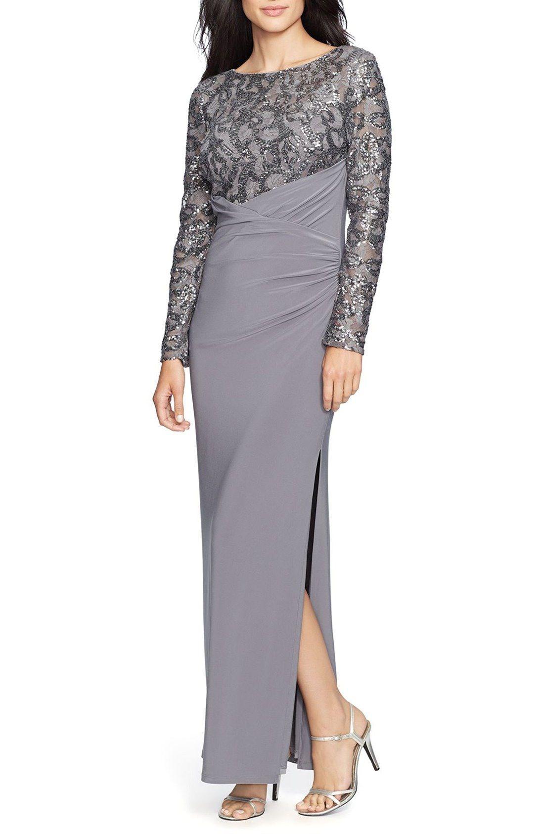 Lauren Ralph Lauren Sequin Jersey Faux Wrap Gown (Regular | Linda ...