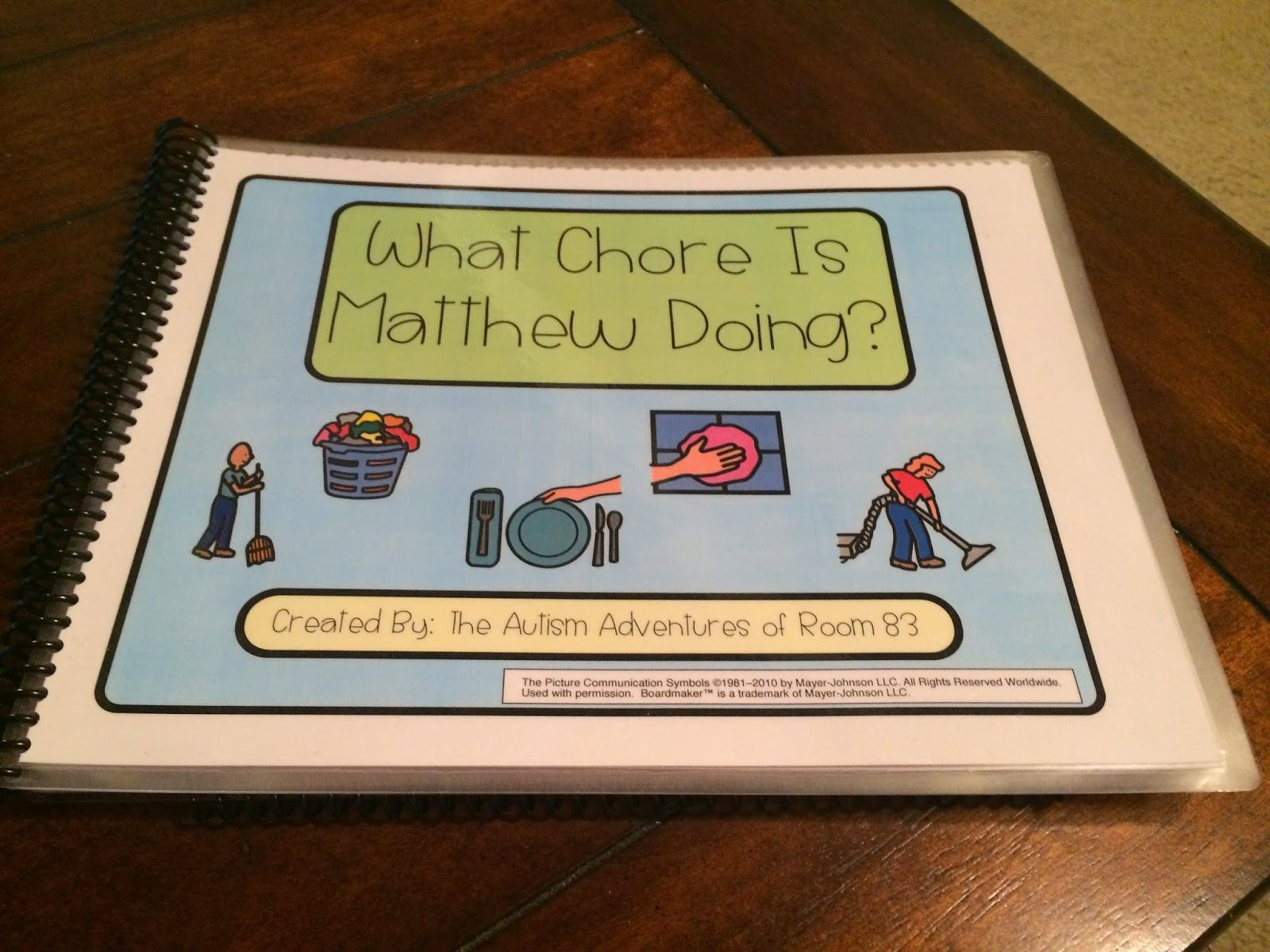 Adapted book for students with autism- What chore is matthew doing.  Adapted book to work on vocational skills and daily household chores using board maker pecs