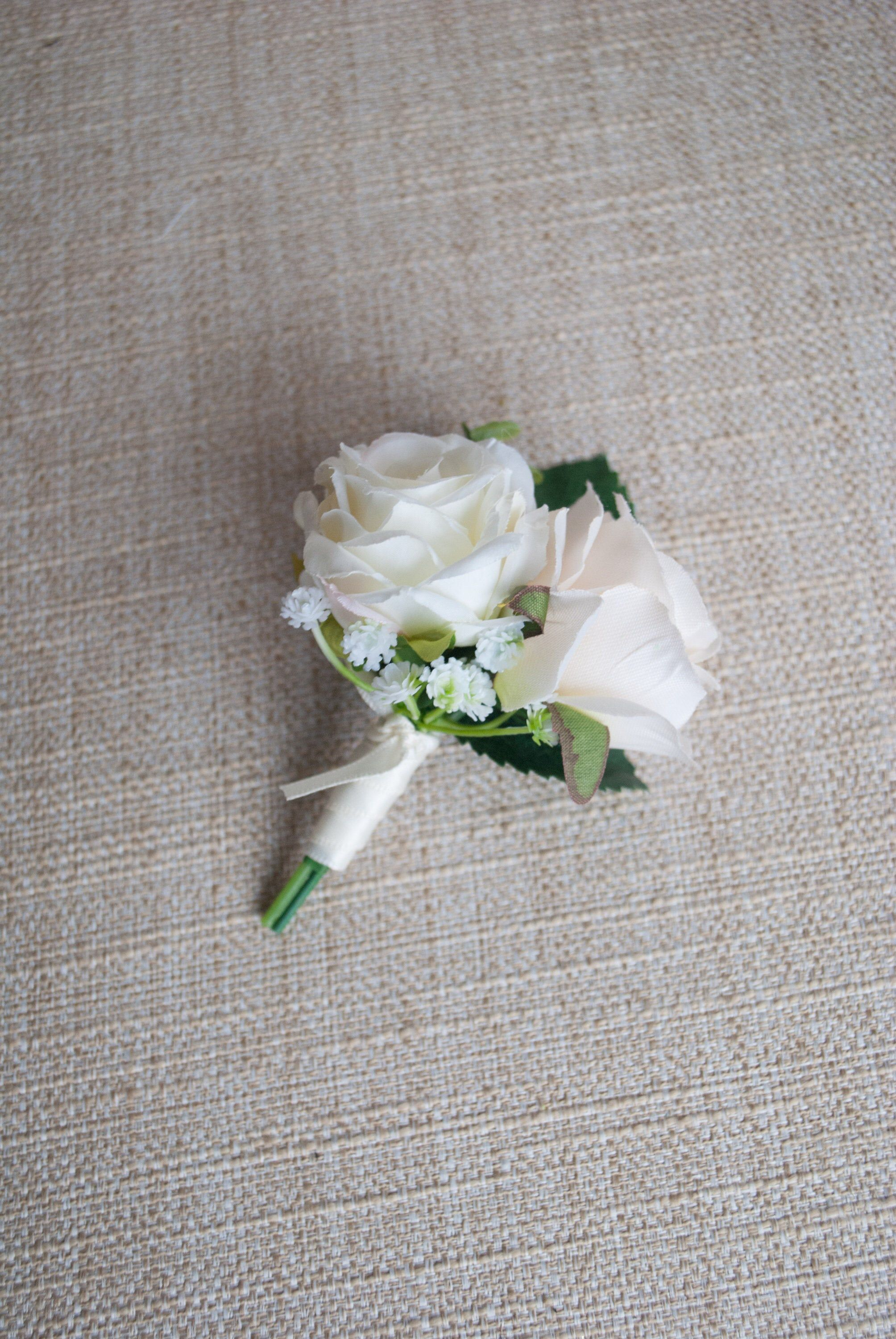 Champagne And Ivory Silk Wedding Buttonhole Boutonniere Double