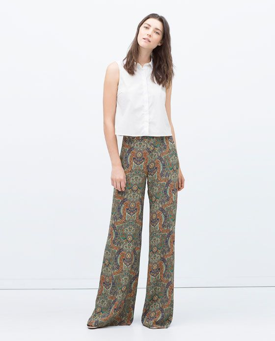 ZARA MUJER PANTALON ANCHO ESTAMPADO | Pantalones anchos