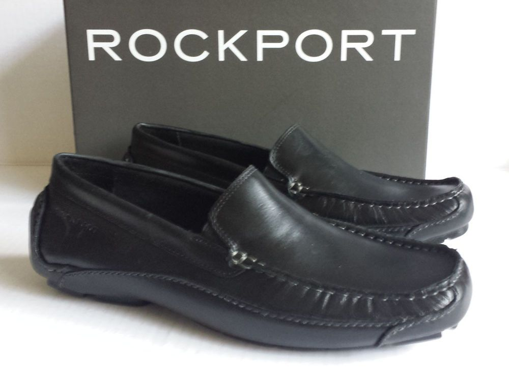 Mens Rockport Luxury Cruise Venetian M76497 Black Casual Slip on Loafer  Shoes 8.5 Medium (d M)