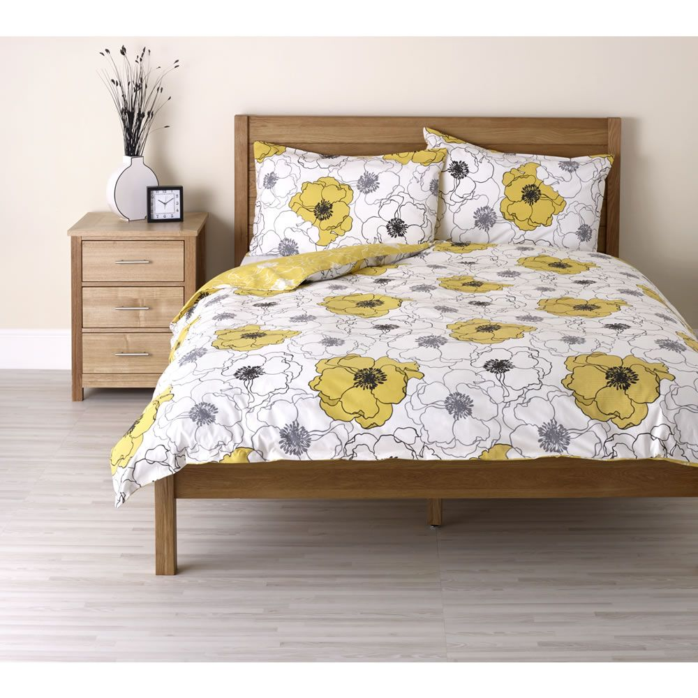 Wilko Poppy Duvet Set Yellow Double At Wilko Com Duvet Sets Single Bedding Sets Floral Duvet Sets