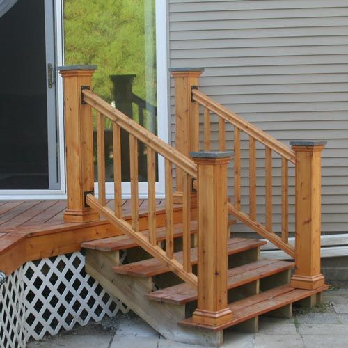 Cedar Deck Railing Made From Cedar, Black Railing Brackets And Granite Post  Caps