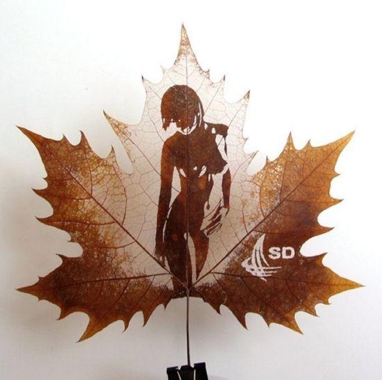 carving  art   Leaf Carving Art