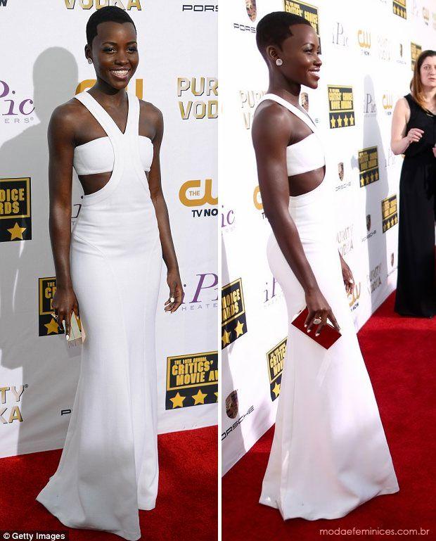 Lupita Nyong'o in white dress vestido longo branco Calvin Klein - Looks no tapete vermelho do Critics' Choice Movie Awards 2014   http://modaefeminices.com.br/2014/01/18/looks-no-tapete-vermelho-do-critics-choice-movie-awards-2014/