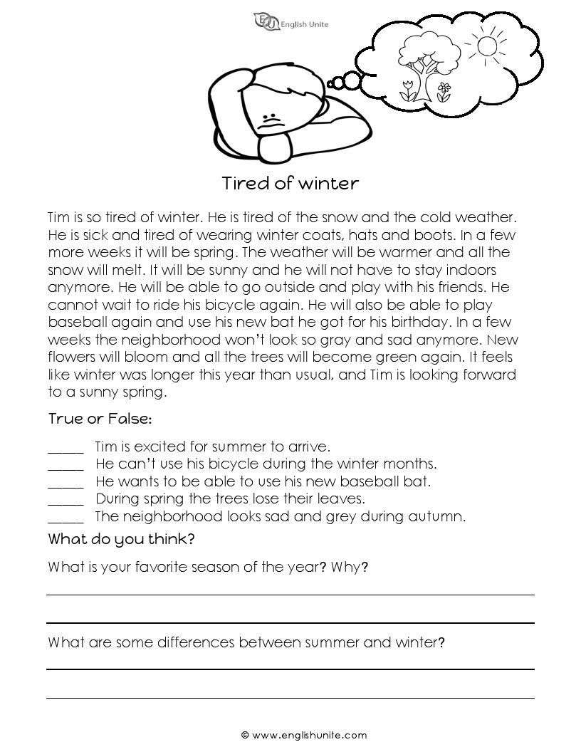- Short Story - Tired Of Winter First Grade Reading Comprehension