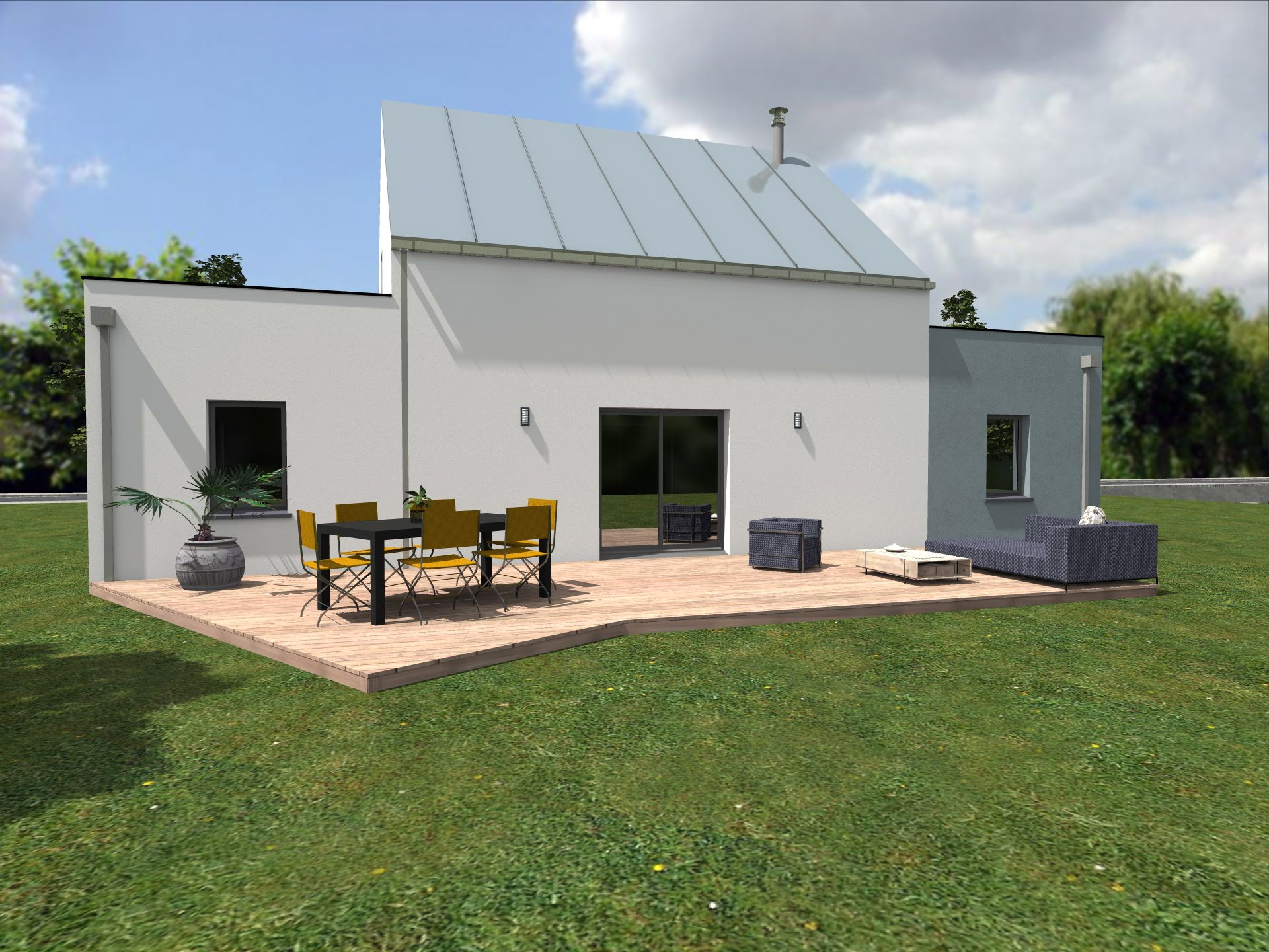 Vue arri re de la perspective 3d du plan de maison alissi propos par alliance construction for Maison contemporaine vendee
