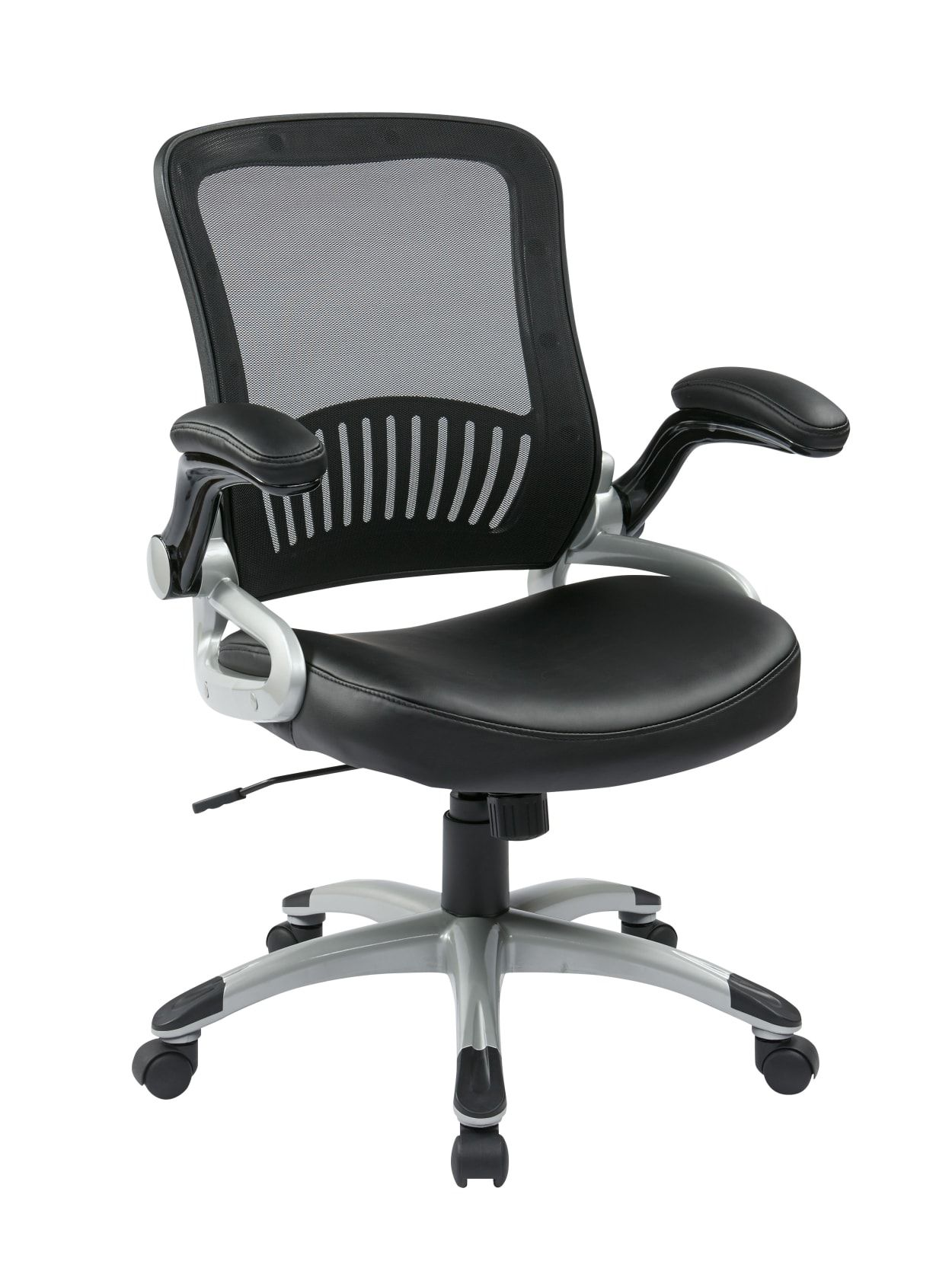 Office Star Work Smart Chair Blacksilver Office Depot Mesh Task Chair Leather Seat Black Office Chair