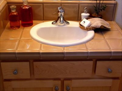 tiled bathroom counter with undermount sink | bathroom counter top