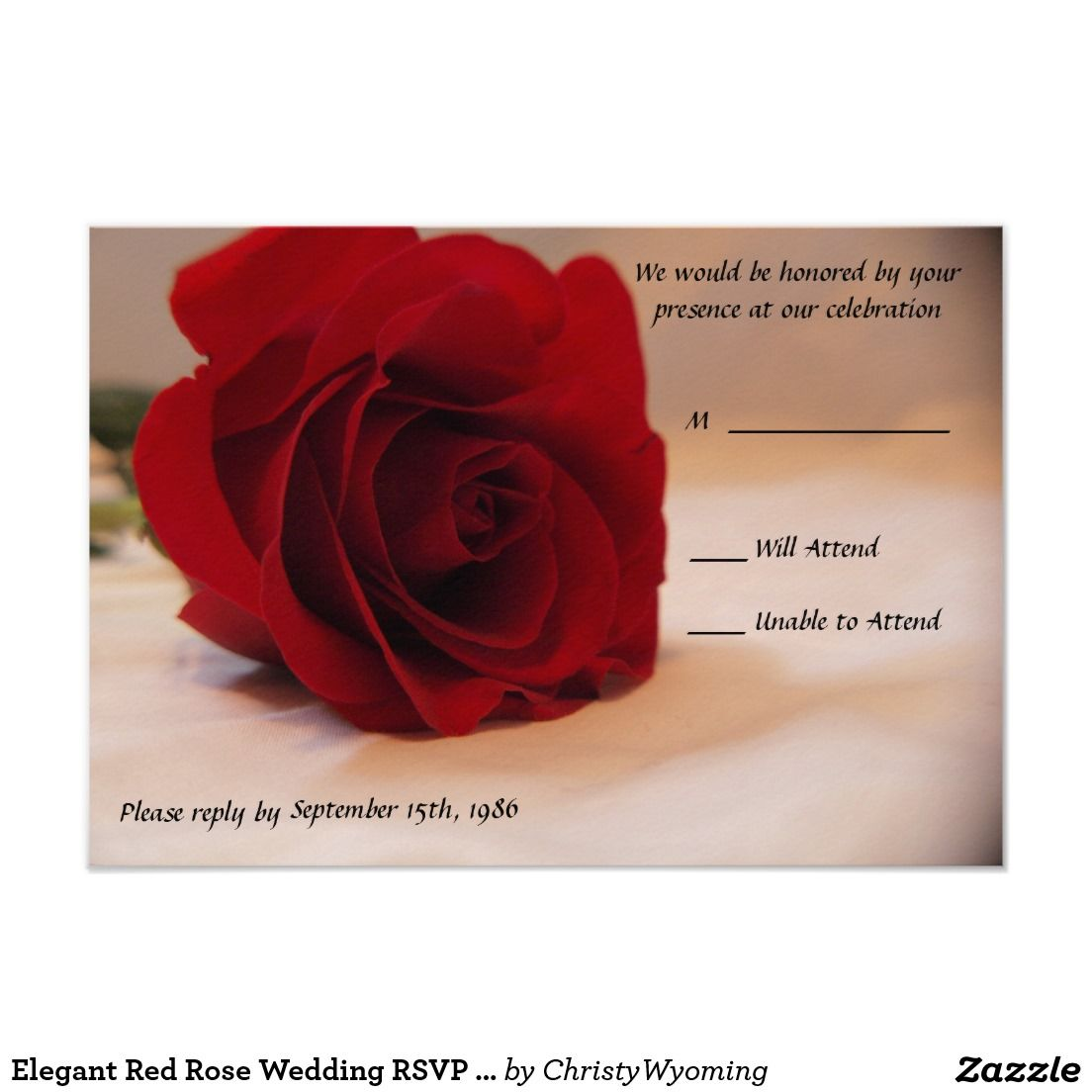 Elegant Red Rose Wedding RSVP Cards | Wedding rsvp, Rsvp and Elegant