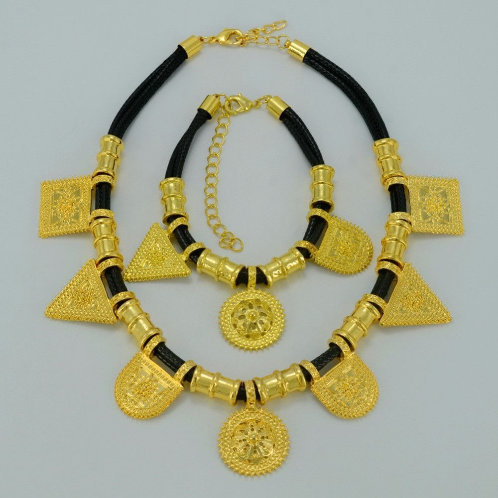 Gold Plated Ethiopian Jewelry sets Necklace and Earrings Ethiopia
