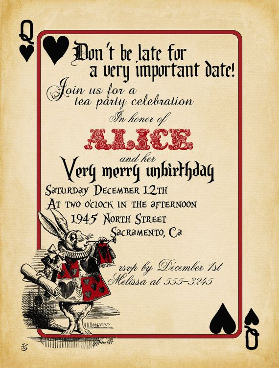Playing Card Alice In Wonderland Invitation By Theredstardesigns