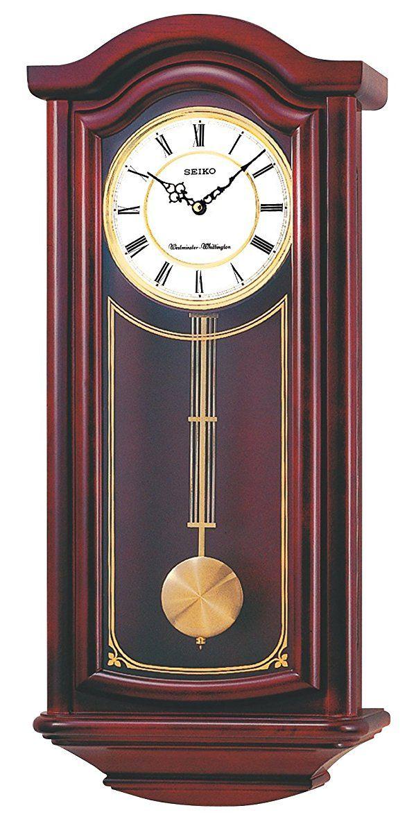 Seiko Wall Pendulum Clock Mahogany Finish Solid Wood Case Chiming Wall Clocks Pendulum Clock Craftsman Wall Clocks