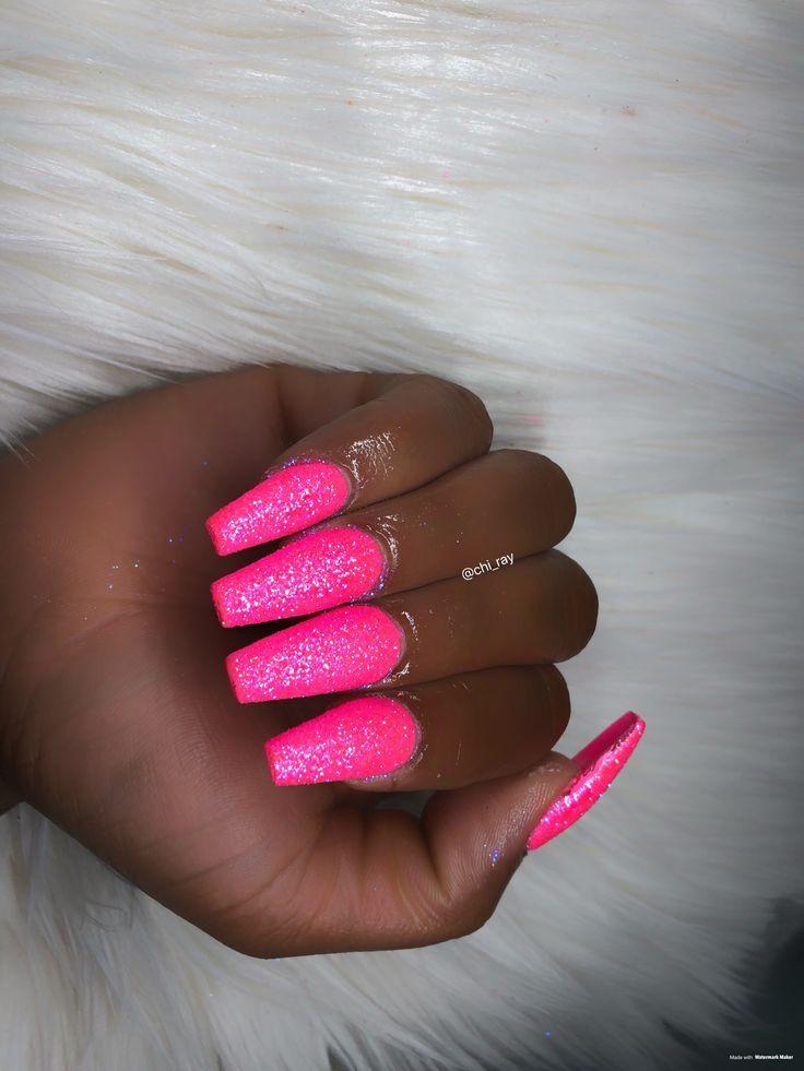 Untitled Pink Glitter Nails Pink Acrylic Nails Glitter Nails Acrylic