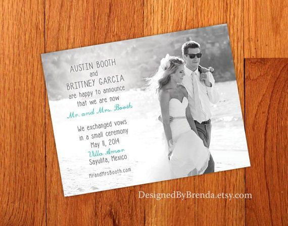 Just Married Wedding Announcements Double Sided Any Colors Photo On Both Sides