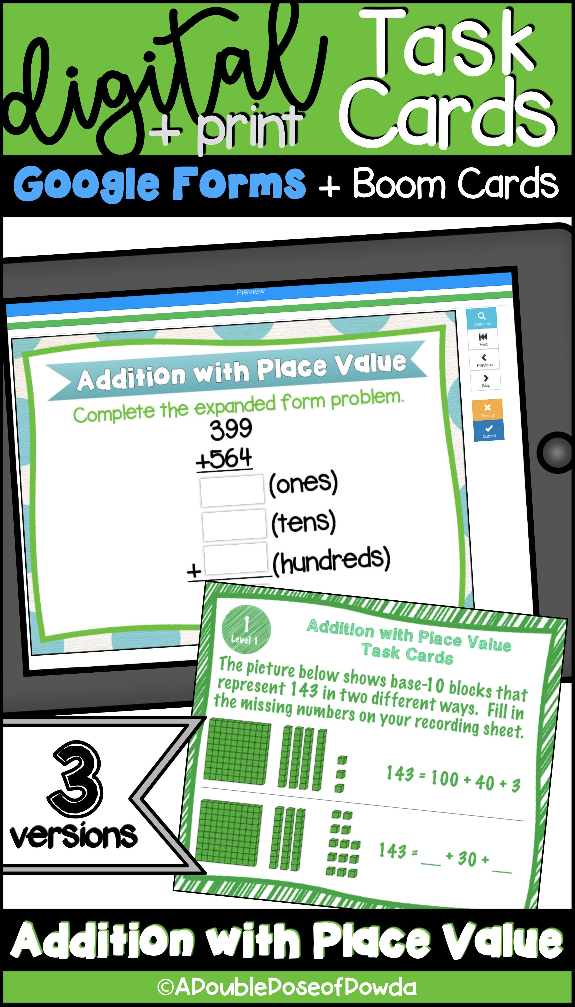 Self Grading Addition With Place Value Digital Amp Print