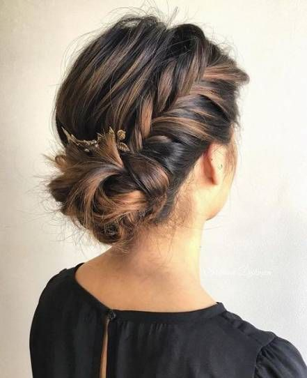 Trendy braids side bun updo hairstyle Ideas #bunupdo