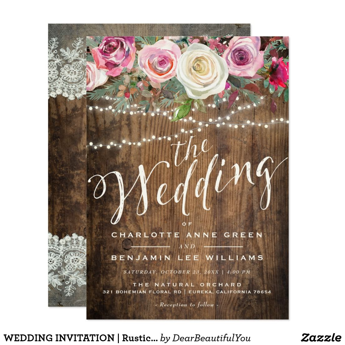 WEDDING INVITATION | Rustic Wood Floral Lights Celebrate your ...