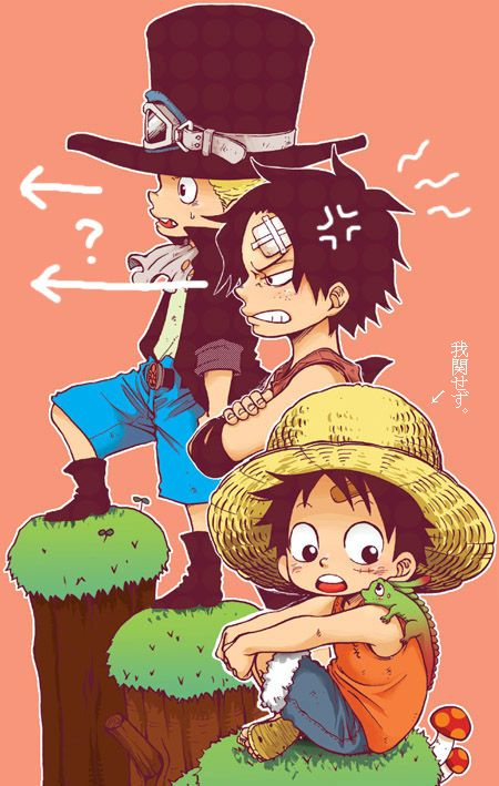 One Piece Asl Ace Sabo Luffy Cute One Piece One Piece Ace