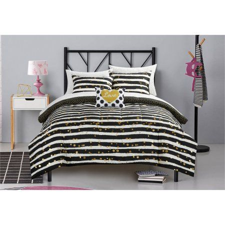 Latitude Gold Glitter Stripe and Polka Dot Bed in a Bag Bedding