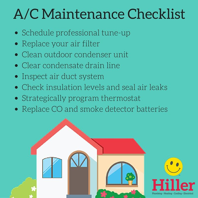 Air Conditioning Maintenance Checklist For Spring And Summer Hiller Maintenance Checklist Air Conditioning Maintenance Home Maintenance Checklist
