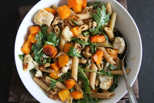 Browned Butter Pasta with Arugula, Butternut Squash, and Cauliflower | Lattes & Leggings