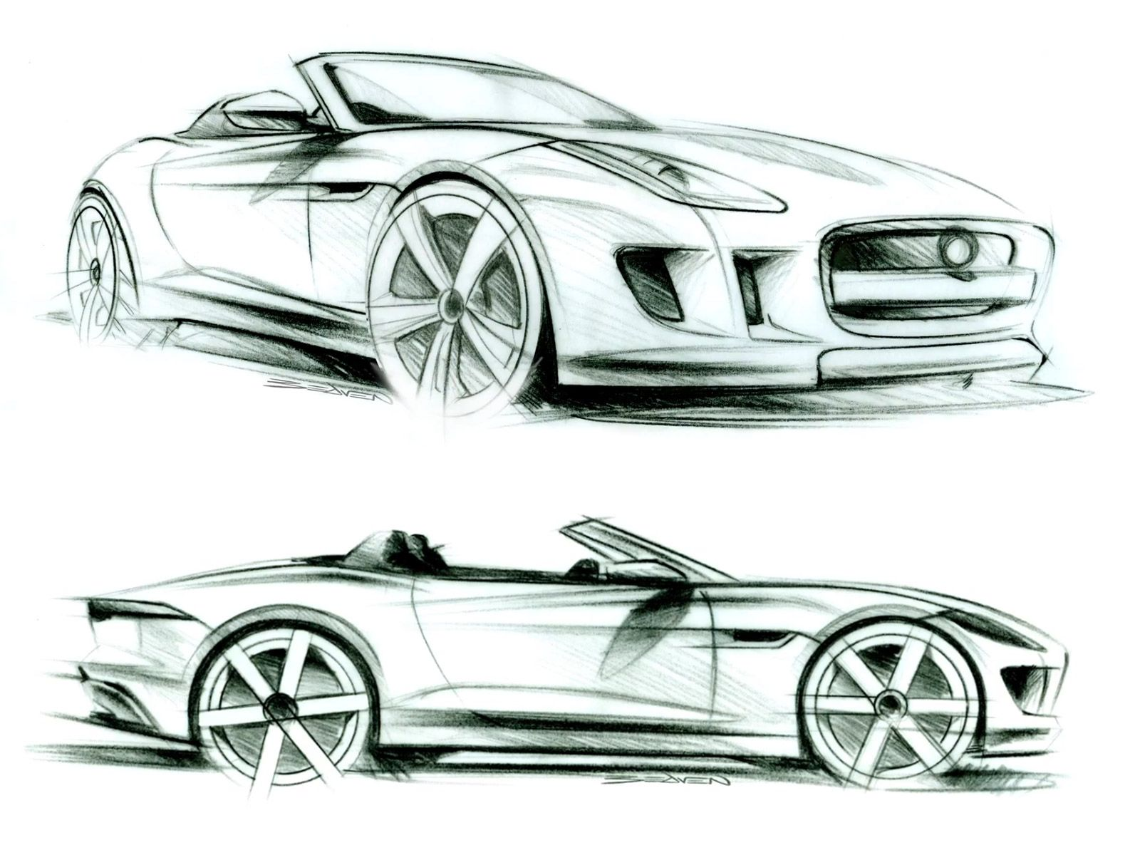 Jaguar f type design sketches sketches pinterest for Coupe architecture