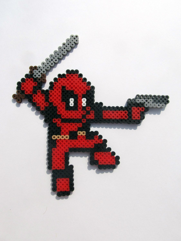 Deadpool Magnet Perlerbeads Marvel Pixelart 8 Bit Etsy