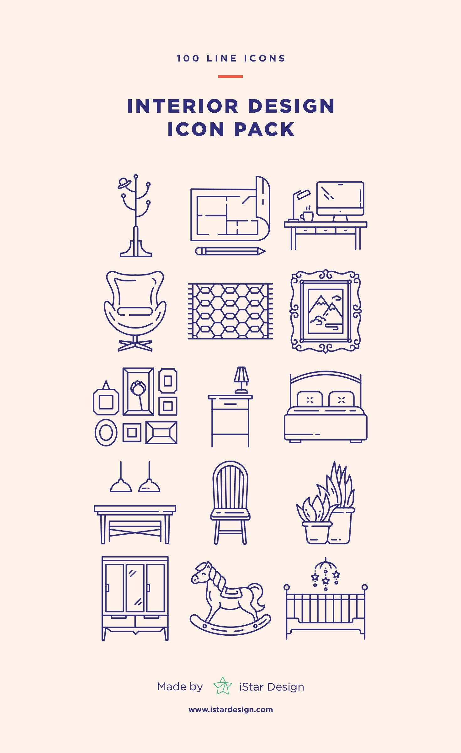 Interior Design Icons Set 3ds max Icons and Pictogram