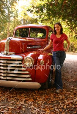 Young Lady With A Cute Old Car With Images Vintage Pickup
