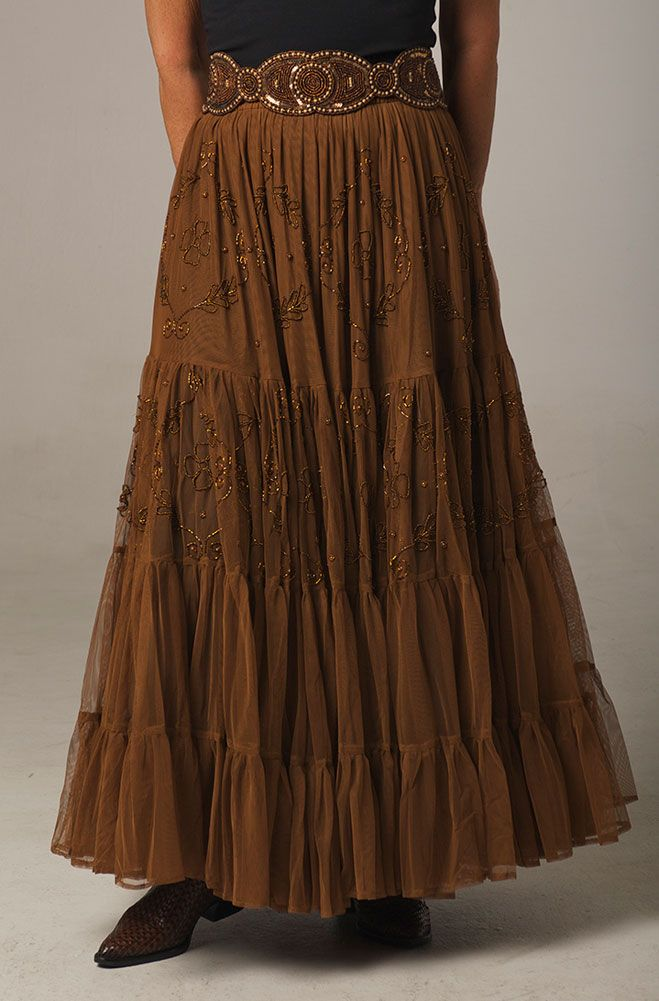 d6b5cda22 This copper color romantic beaded skirt is one of our new additions to our  Formal Western