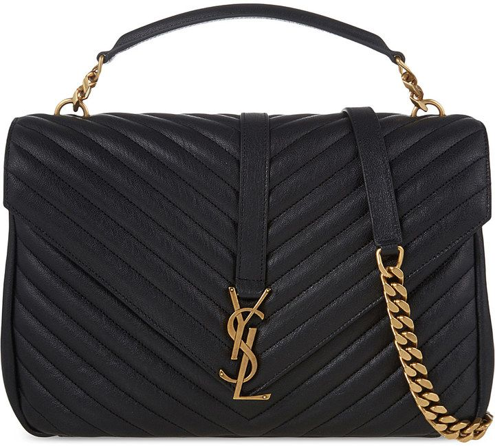 Selfridges London Saint Laurent Monogram Collège Leather Satchel Black Or Navy With Gold Hardware Chic And Classy