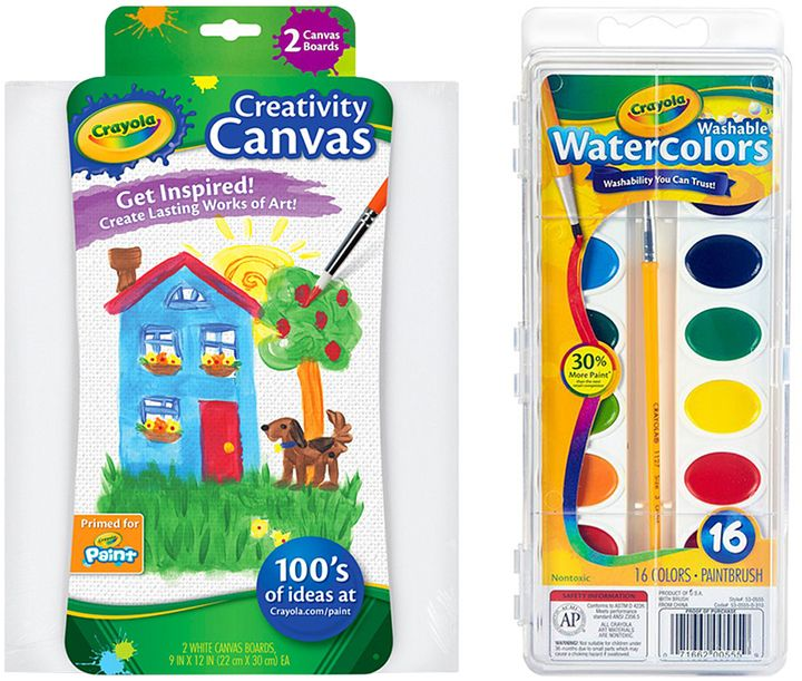 Creativity Canvas Board 16 Pan Washable Watercolor Set