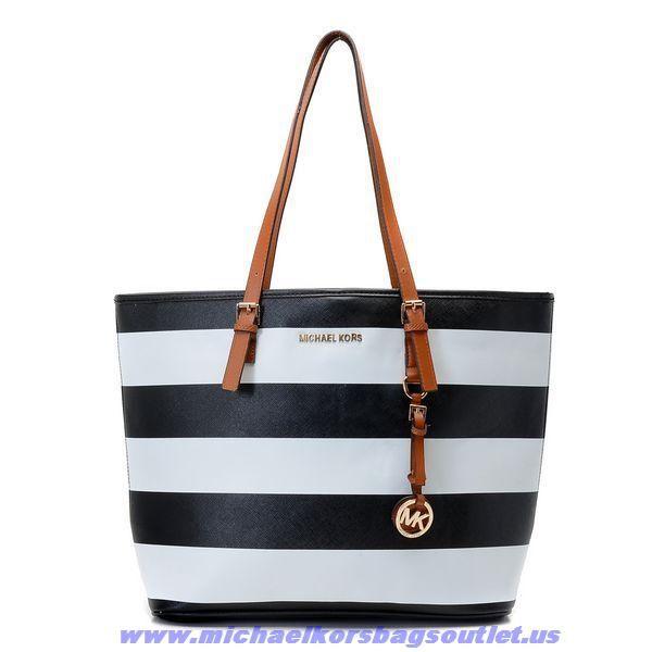 Michael Kors Large Stripe Should Bag Black For Sale