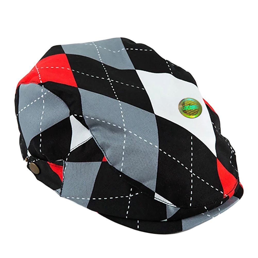 Boy Girl Kid Newsboy Flat Cap Argyle Diamond Pattern Black Gray ... f3d35a9e635