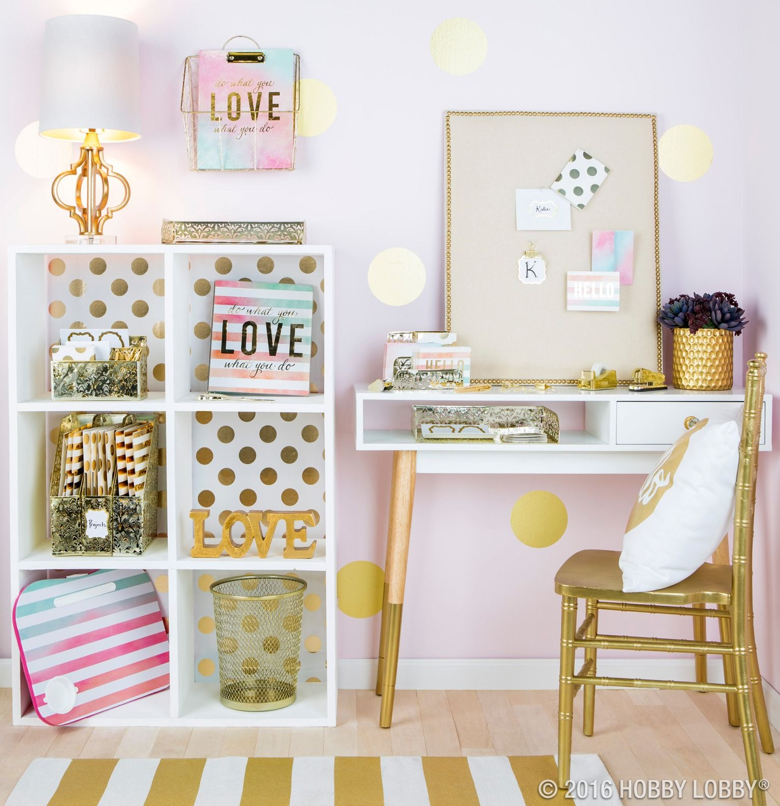 Inspiration Starts With Your Workspace Glam It Up With Pops Of Gold And Vibrant Watercolor Accents To Help Kick Yo Dorm Decorations Room Inspiration Girl Room