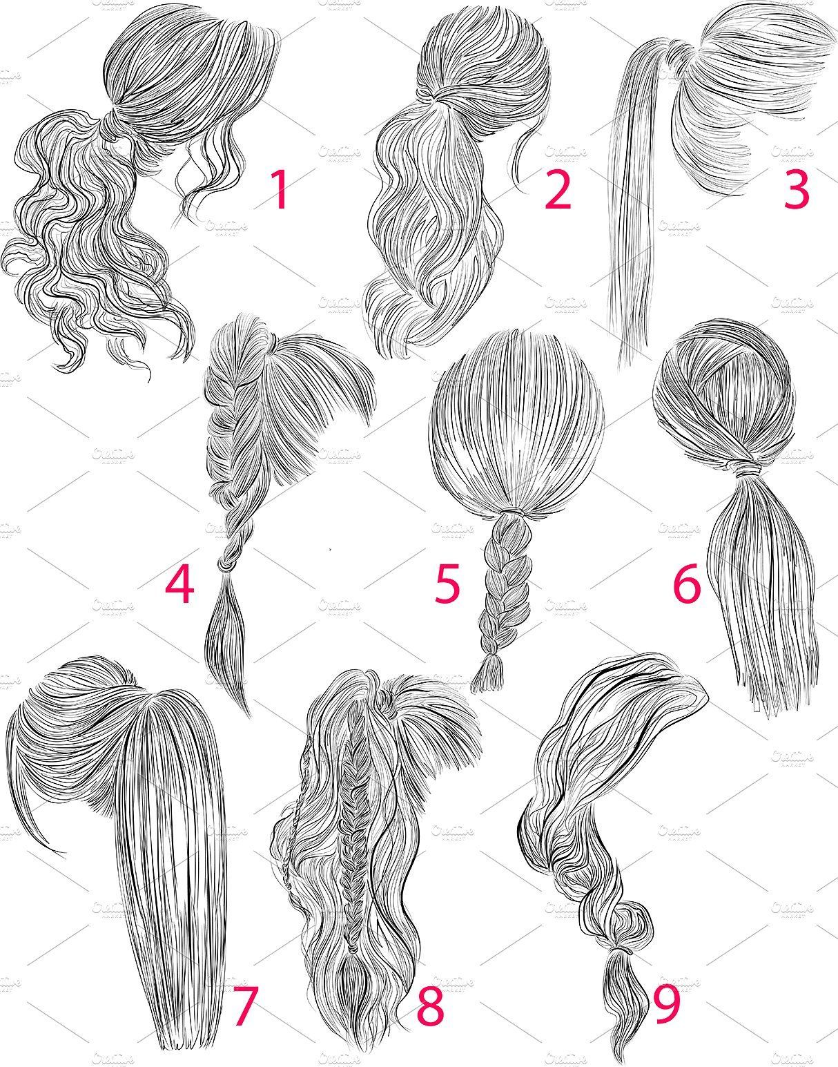 Photo of Ponytails vector hairstyles set #plaits#loose#Inspiration#perfect