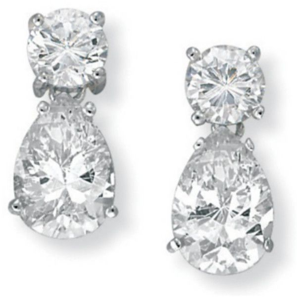 Cubic Zirconia Silver Earrings by PalmBeach Jewelry (€44) ❤ liked on Polyvore featuring jewelry, earrings, accessories, brincos, joias, cz earrings, pandora jewelry, womens jewellery, round earrings and silver cubic zirconia earrings